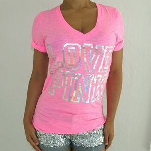 Victoria's Secret PINK Bling V-neck Tee Shirt New